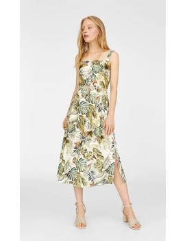 Tropical Print Midi Skirt by Stradivarius