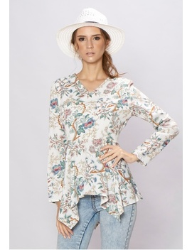 Handkerchief Long Sleeves Floral Top by Loveaisyah