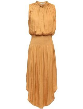 Shirred Gathered Satin Dress by Halston Heritage
