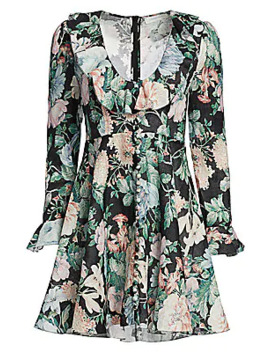 Verity Plunging Floral Linen Mini Dress by Zimmermann