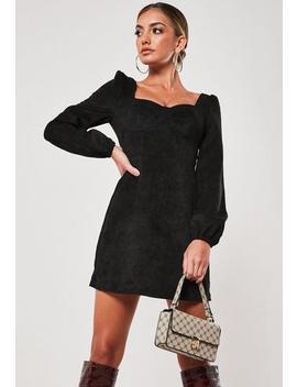 Black Cord Milkmaid Mini Dress by Missguided