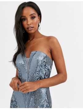 Bariano Bandeau Fitted Sequin Gown In Antique Blue by Bariano's
