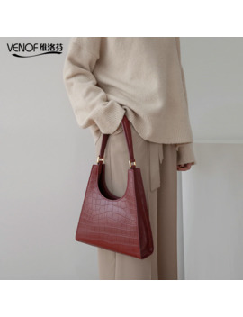 Venof New Style Fashion Split Leather Shoulder Bags For Women Alligator Pattern Female Axillary Bags Ladies Luxury Handbags 2019 by Ali Express.Com