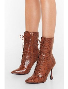 Python Our Wavelength Lace Up Heeled Boots by Nasty Gal
