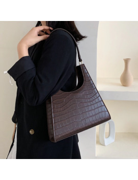 Solid Color Retro Triangle Shoulder Bags For Women 2019 Luxury Quality Stone Pattern Handbags Lady Elegant Hand Bag Totes by Ali Express.Com