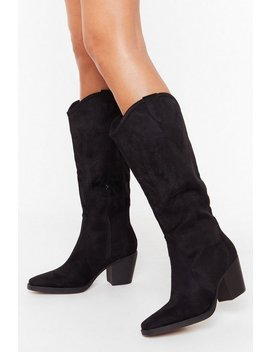 She's The West Faux Suede Western Boots by Nasty Gal