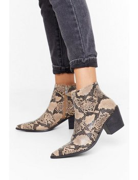 Let's Hiss And Snake Up Faux Leather Boots by Nasty Gal