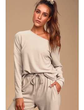 Dressed To Chill Taupe Ribbed Long Sleeve Sweater Top by Lulus