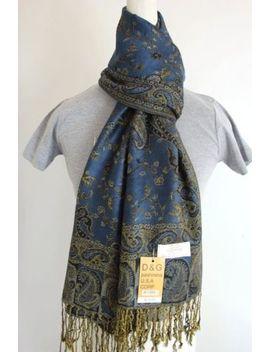 New Dg Pashmina Fashion Scarf Wrap Paisley Dark Blue Gold Cashmere Silk Style:11 by D&G Pashmina Usa Corp