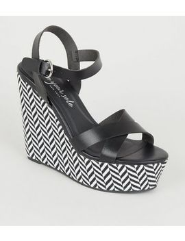 Black Zig Zag Platform Wedges by New Look