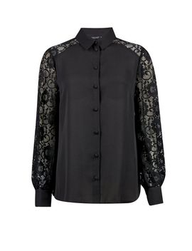 Black Lace Front Shirt by Dorothy Perkins