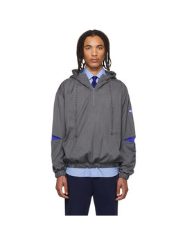 Grey Stone Logo Hoodie Jacket by Ader Error