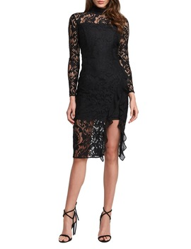 Dionne Long Sleeve Lace Cocktail Dress by Bardot