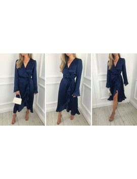 Exclusive Valery Wrap Midi Dress Navy by Pretty Lavish