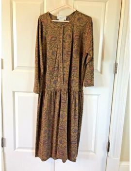 Adrienne Vittadini Womens Dress Size 1 In Paisley Print Warm Browns And Gold by Adrienne Vittadini