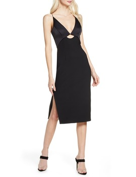 Paradise Cutout Detail Satin & Crepe Sheath Dress by Finders Keepers