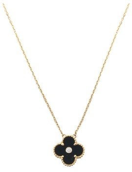 rose-gold-limited-edition-onyx-diamond-vintage-alhambra-necklace by van-cleef-&-arpels