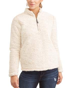 Time And Tru Women's Plus Size Snow Tipped Quarter Zip Jacket by Time And Tru