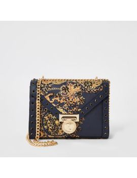 Navy Print Embellished Mini Cross Body Bag by River Island
