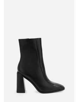 Black Faux Leather Square Toe Ankle Boots by Missguided