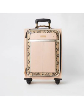 Beige Snake Printed Four Wheel Suitcase by River Island
