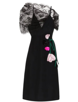 Lace Panelled Floral Appliqued Midi Dress by Prada