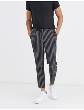 New Look Slim Crop Twin Stripe Trousers In Grey by New Look