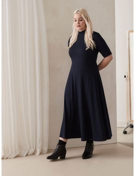 Addition Elle   Fit & Flare Ribbed Midi Dress by Penningtons