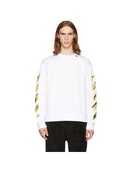 Ssense Exclusive White & Yellow Painted Arrows Sweatshirt by Off White