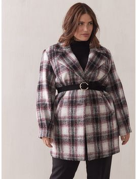 Mid Length Plaid Cocoon Coat   Addition Elle by Penningtons