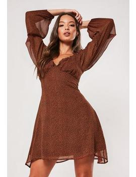 Brown Animal Print Milkmaid Skater Dress by Missguided