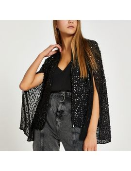 Black Long Sleeve Sequin Embellished Cape by River Island