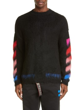Diagonal Slim Fit Mohair Blend Sweater by Off White