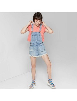 Women's Destructed Denim Shortalls   Wild Fable™ Light Wash by Wild Fable