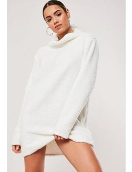 Cream Borg Teddy High Neck Sweater Dress by Missguided