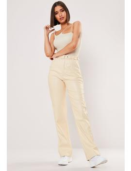 Stone Faux Leather Wide Leg Pants by Missguided