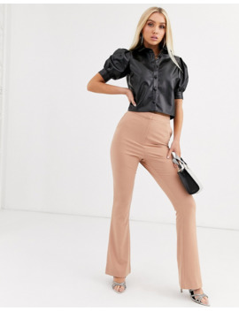 Boohoo Cropped Leather Look Shirt With Puff Sleeves In Black by Boohoo