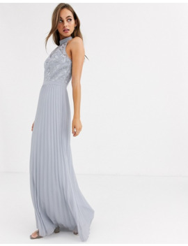 Chi Chi London Lace Detail Maxi Dress With Pleated Skirt In Gray by Chi Chi London