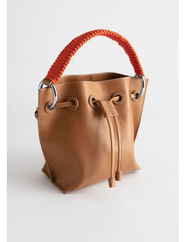 Braided Handle Leather Bucket Bag by & Other Stories