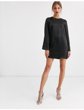 Asos Design   Robe Courte Droite En Satin à Manches Longues   Satin Délavé by Asos Design