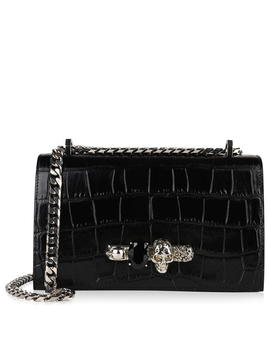 Crocodile Effect Jewelled Satchel by Alexander Mcqueen