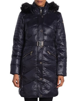 Faux Fur Trim Midweight Puffer Coat by Michael Michael Kors