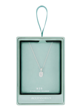 Sterling Silver Oval Cut Solitaire Necklace by Accessorize