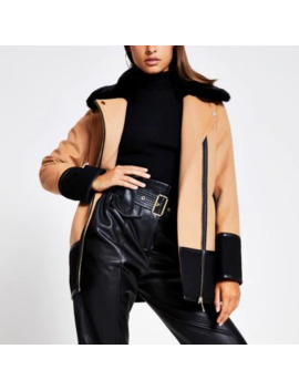 Camel Colour Blocked Faux Fur Collar Coat by River Island