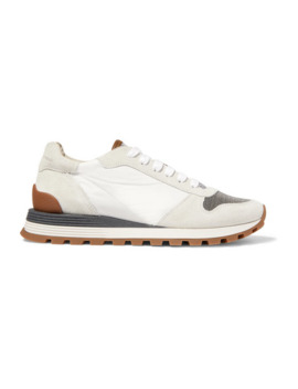 Bead Embellished Nylon, Suede And Leather Sneakers by Brunello Cucinelli