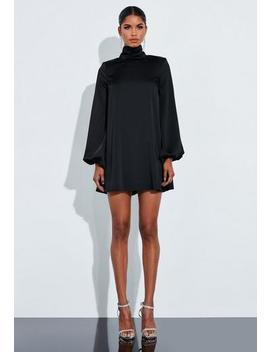 Peace + Love Black Satin Button High Neck Floaty Mini Dress by Missguided