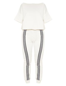 Ecru Loopback Sports Stripe Jumpsuit by Prettylittlething