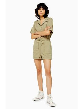 Tall Khaki Button Utility Playsuit by Topshop