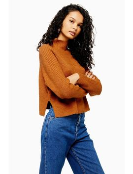 Tall Brown Knitted Cropped Funnel Neck Jumper by Topshop