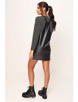 Black Pu Pinafore Dress by I Saw It First